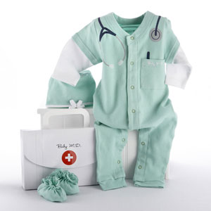 "Big Dreamzzz Baby M.D. Two-Piece Layette Set in ""Doctor's Bag"" Gift Box"