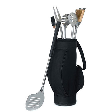 Novelty 5 Piece BBQ Tools In Black Golf Bag And Golf Grips