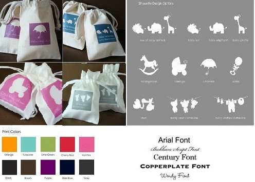 Baby Shower Personalized Silhouette Muslin / Satin Bag Favors