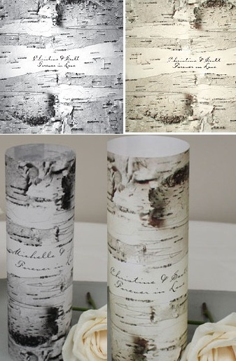 Birch Bark Vellum Luminary Wrap with sticker (Set of 12)