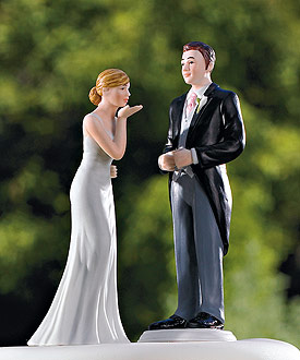Bride Blowing Kisses and Groom in Suit Cake Toppers