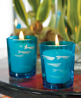 Carved Glass Fish Tea Light Holder - Set of 8