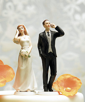 Cell Phone Fanatic Bride and Groom Mix Match Cake Toppers