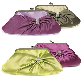 Convertible Satin Clutch Purse with Crystal Wrap - Amethyst