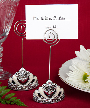Crown design place card/photo holders with Fleur De Lis accents
