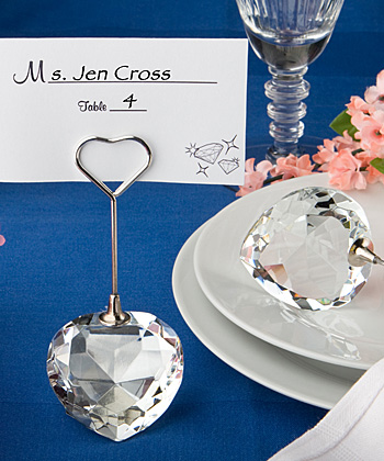 Crystal Collection heart design place card holders