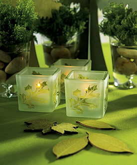 Deep Sandblasted Glass Leaf Cube Tea Light Holders (Set of 8)