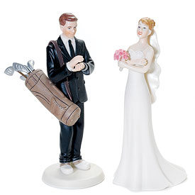 Golf Fanatic Bride and Groom Cake Toppers