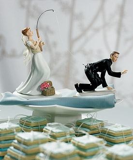 Gone Fishing Bride and Groom Cake Toppers