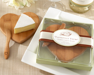 """Tastefully Yours"" Heart-Shaped Bamboo Cheese Board-green wedding favor"