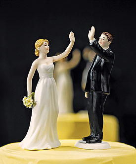 High Five - Bride and Groom Wedding Cake Toppers