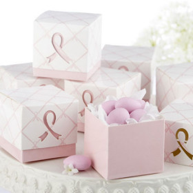 """In Favor of a Cure"" Pink Ribbon Favor Boxes(set of 12)"