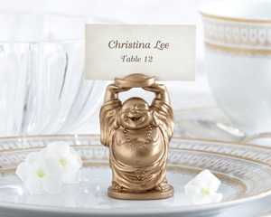 """Laughing Buddha"" Golden Buddha Place Card/Photo Holder (Set of 4)"
