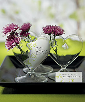 Miniature Clear Blown Glass Heart Vase - Set of 4