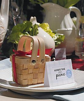 Miniature Woven Picnic Basket - Set of 6