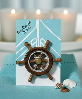 """Our Course is Set"" Boat Wheel Magnet Favor Gift ( Set of 6 )"
