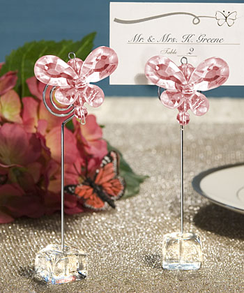 Pink or Clear Crystal Butterfly Place Card Holders