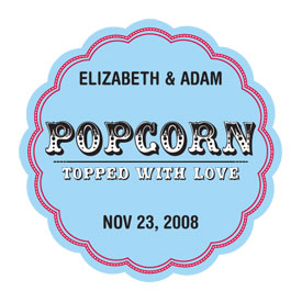 Popcorn - Topped with Love Sticker - Set of 36