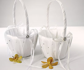 Scattered Pearls Crystals Flower Girl Basket