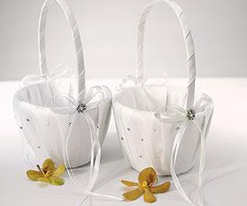 Scattered Pearls Crystals Flower Girl Basket