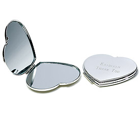 Silver Plated Classic Heart Compact Mirror