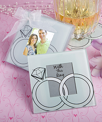 Wedding rings design glass photo coasters-Wedding rings design glass photo coasters