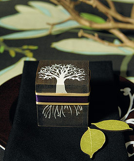 """Miniature Wooden Box with Lid - exclusive """"Tree Design"""""""