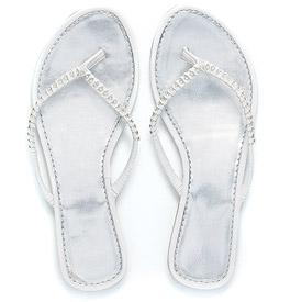 White Sandal with Crystal Woven Strap
