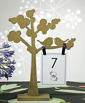 "Wooden Die-cut Trees with ""Love Birds"" Silhouette - Set of 2 Assorted"