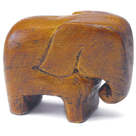 "Miniature ""Good Luck"" Wooden Elephants (Set of 4)"