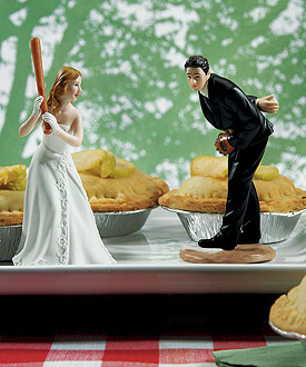 Groom Pitching with Bride Ready To Hit A Home Run Wedding Baseball Sports Themed Cake topper