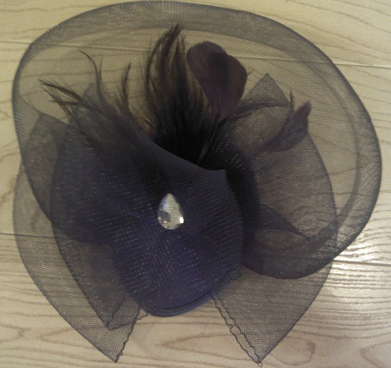 Blue Cocktail Hair Piece With Feather Accent and Clip