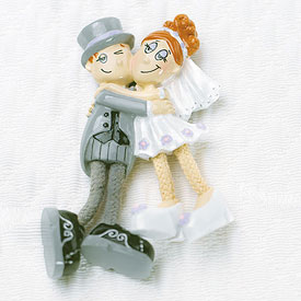 Comical Dangly Legged Bride and Groom Wedding Favor Magnet