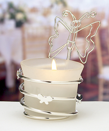 butterfly-design candleholders place card holders