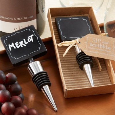 """Sip & Scribble"" Chalkboard Bottle Stopper-Sip & Scribble Chalkboard Bottle Stopper"