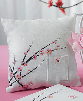 Cherry Blossom Square Ring Pillow