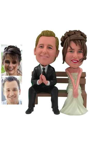 Couple on Bench Cake Topper