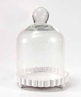 Miniature Bell Jar with White Fluted Base Wedding Favor