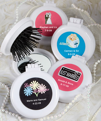 Personalized Expressions Collection brush - mirror compact favors-Personalized mirror compact favors