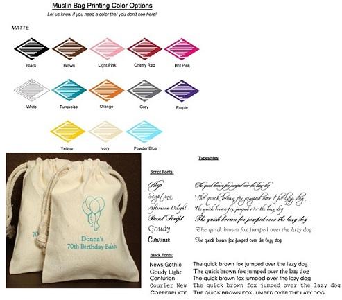 Bridal Shower Personalized Muslin Bag Favors