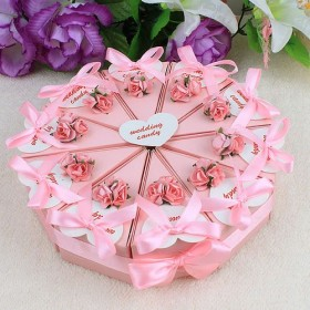 Pink Flower Cake Favor Boxes (Set of 10)