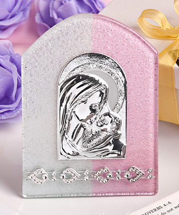 Pink and White Murano Glass Collection Plaque Favor