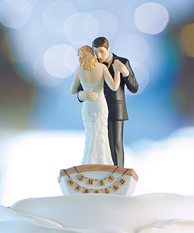 row away wedding couple in rowboat figurine